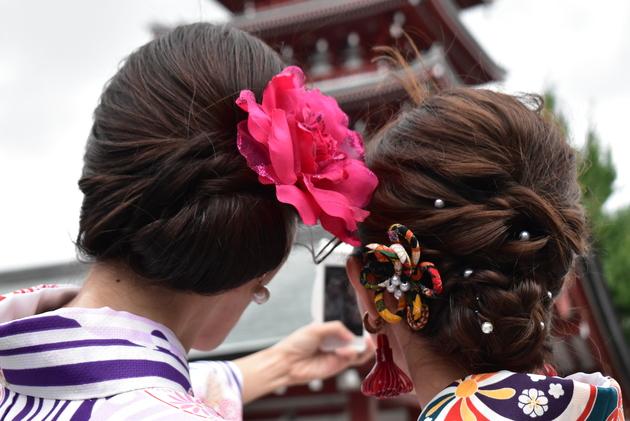 梨花和服のヘアセット写真