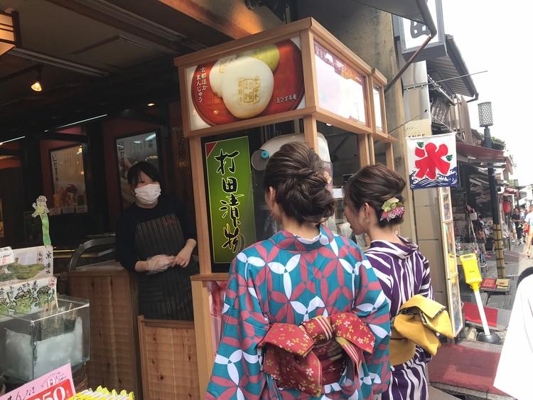 京都で浴衣レンタルをしてかき氷