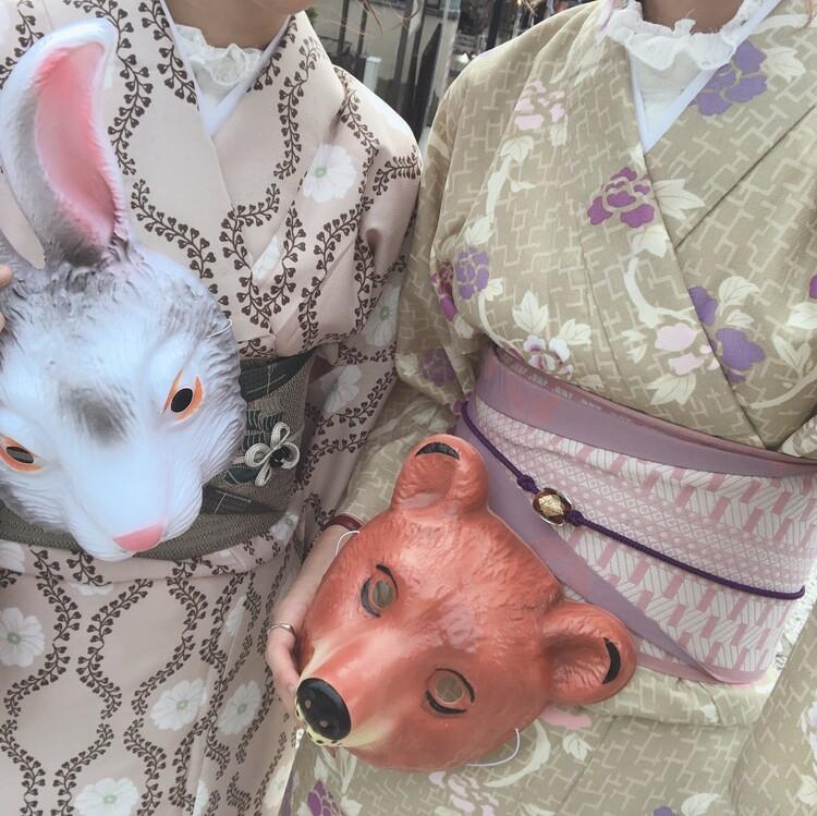清水寺で着物レンタルして動物のお面